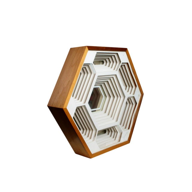 1970s Modern Greg Copeland Honeycomb Paper Sculpture Mirror For Sale - Image 9 of 9