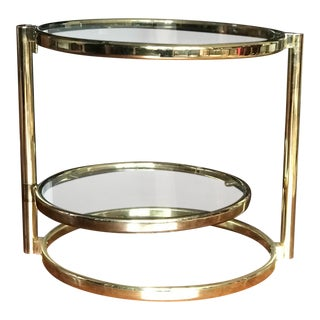 Milo Baughman Brass & Glass Swivel Side Table