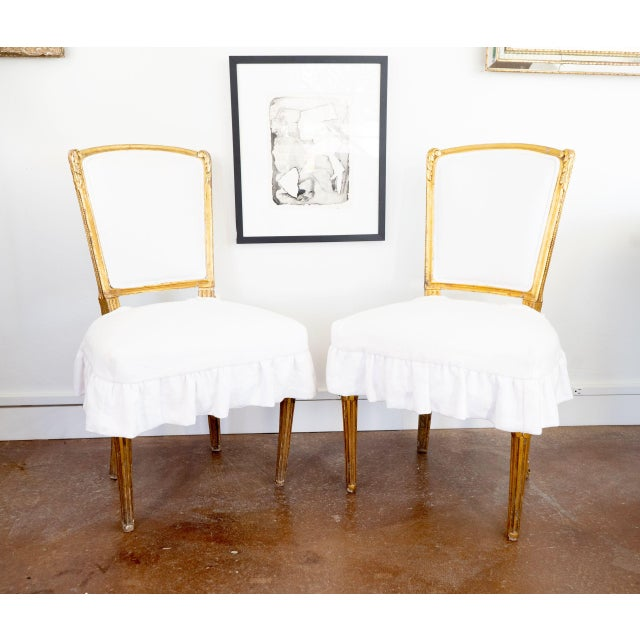 Early 20th Century Antique French Louis XV Style Gilded Accent Chairs- a Pair For Sale - Image 5 of 7