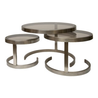 Set of 3 Brushed Steel Nesting Tables