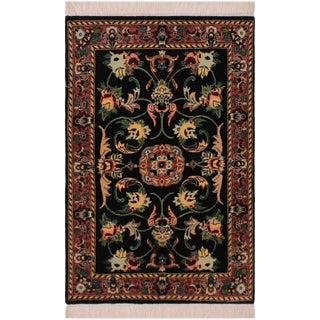 1950s Victorian Anarkali Pak-Persian Yanira Black Wool Rug - 2′1″ × 3′2″ For Sale