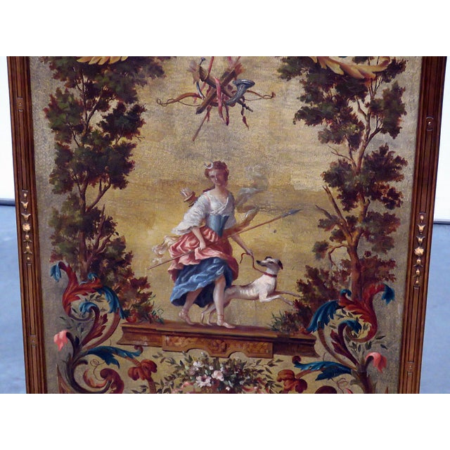 Hollywood Regency Regency Style Oil Painted Screen For Sale - Image 3 of 7