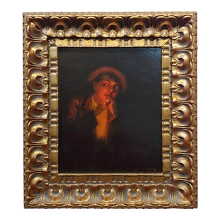 19th Century Dutch Chiaroscuro -Young Man Lighting a Cigarette Oil Painting For Sale