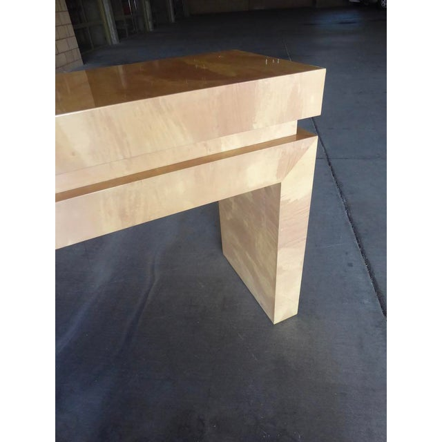 A Chic Art Deco Inspired Faux-Goatskin Console Table For Sale - Image 9 of 12