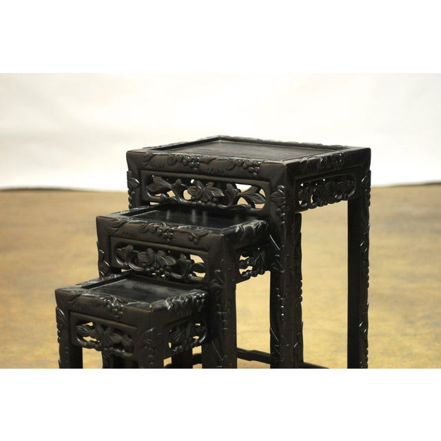 Chinese Ebonized Nesting Tables Set Of 3 Chairish