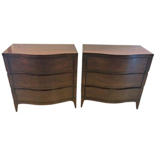 Pair of Serpentine Front Mahogany Chest or Nightstand Commodes For Sale