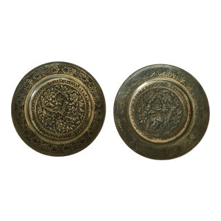 Vintage Metal Embossed Plates - a Pair For Sale