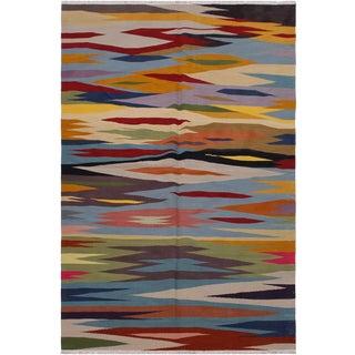 Modern Kilim Anna Hand-Woven Wool Rug -5′11″ × 9′ For Sale