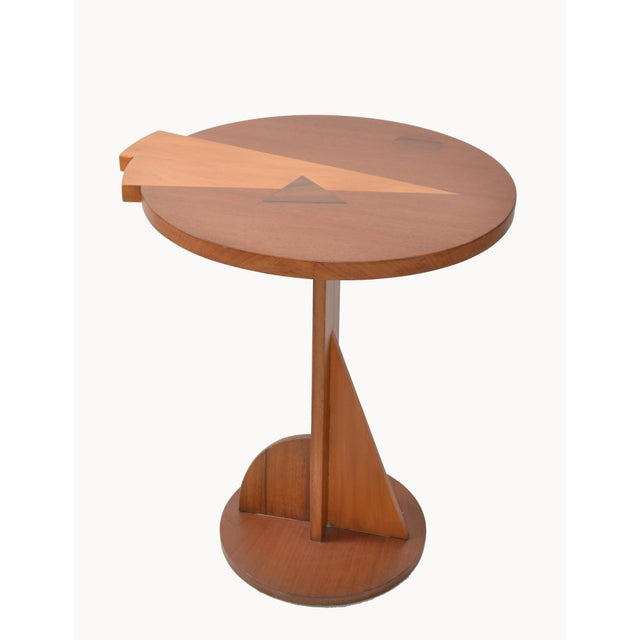 Mid-Century Modern Round Mahogany Wood Marquetry Side / Cocktail Table Italy For Sale - Image 12 of 13