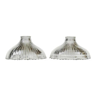 Art Nouveau 1905 Franklin Ribbed Glass Light Shades - a Pair For Sale