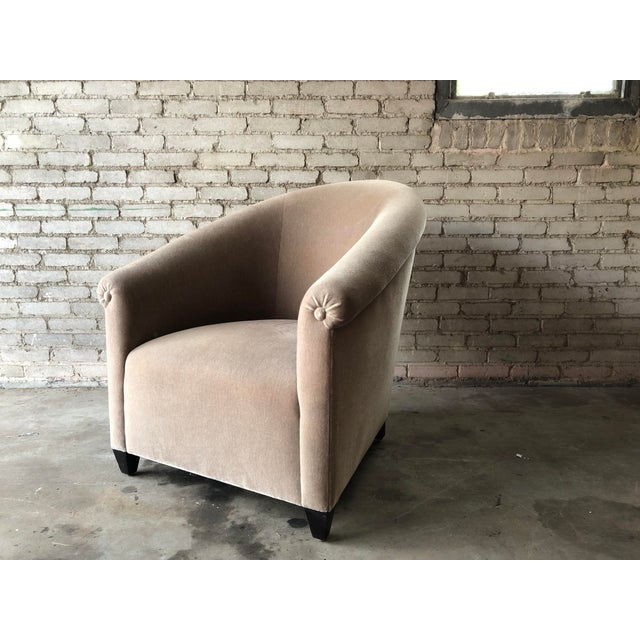 Minotti Mohair Lounge Chair and Ottoman For Sale In Boston - Image 6 of 12