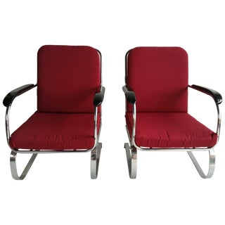 Matched Chromed Steel Art Deco Springer Chairs LLoyd Mnfg Co. - a Pair For Sale