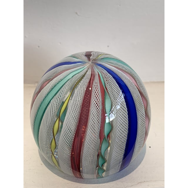 Art Glass Latticino Glass Italian Paperweight For Sale - Image 7 of 11