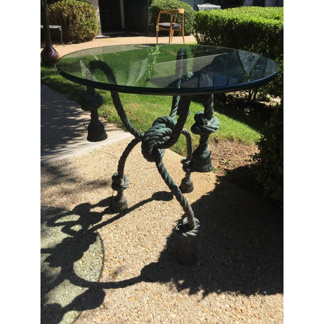 Detailed Bronze Tasseled Rope Table For Sale - Image 9 of 9