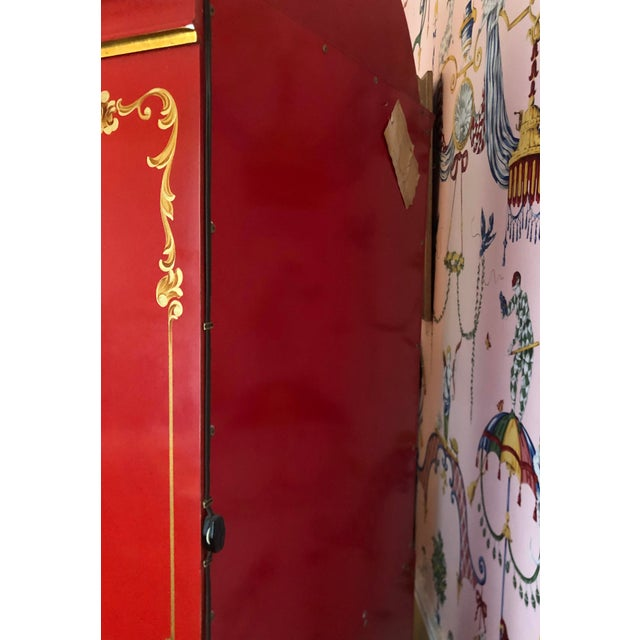 Metal John Widdicomb Red Chinoiserie English Drop Front Secretary Bookcase For Sale - Image 7 of 8
