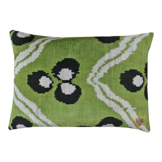 Reversible Pistachio Chintamani Silk Velvet/Silk Atlas Lumbar Pillow For Sale