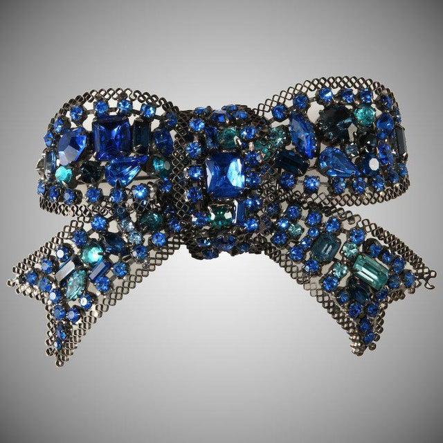 Lawrence Vrba 4.5 Inch Blue Rhinestone Bow Brooch Pin For Sale - Image 4 of 4