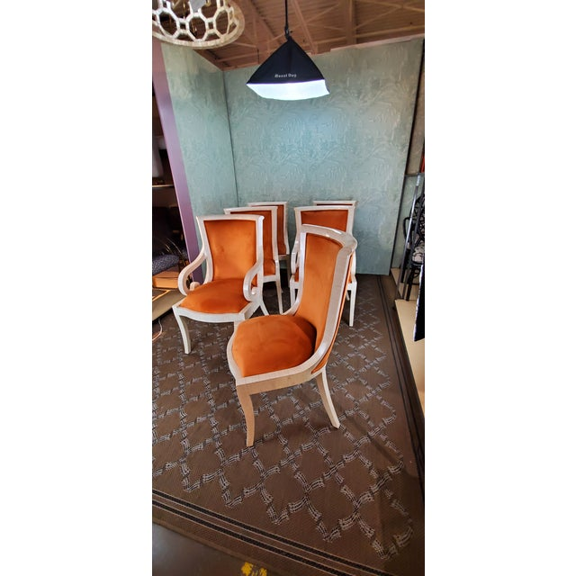 Six tiled chairs, newly upholstered in ginger velvet. The host chairs with scrolled arms..... Excellant condition
