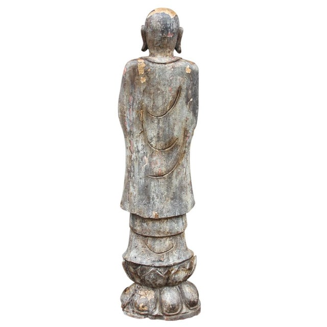 Antique Wooden Monk Statue - Image 6 of 6