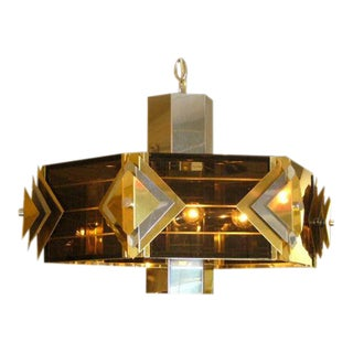 Luxe Modern Cityscape Style Mixed Metal & Lucite Chandelier For Sale