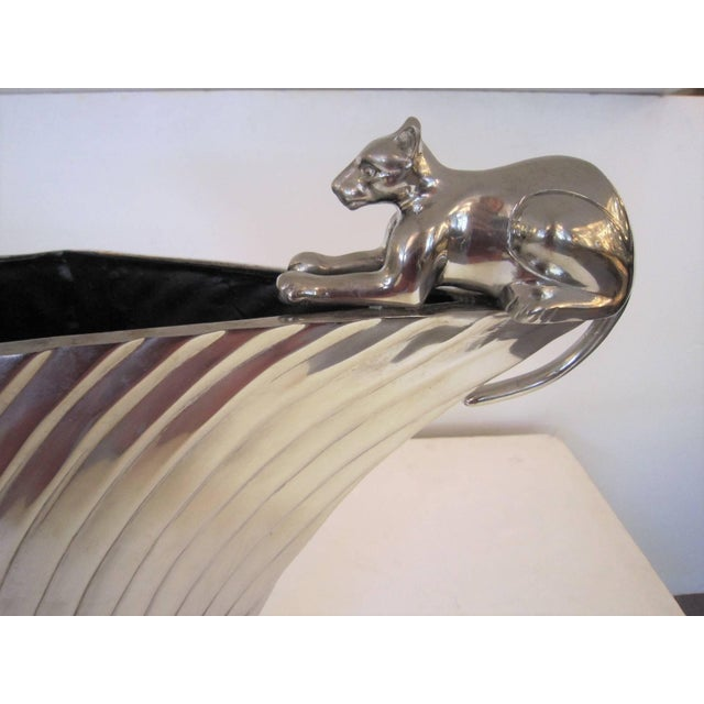 Metal Large Art Deco Revival Fluted Nickeled Brass Vase With Panther For Sale - Image 7 of 13