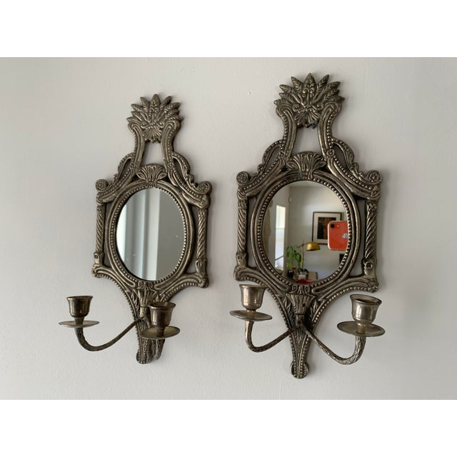 Mexican Mirrored Candle Wall Sconces - a Pair For Sale - Image 3 of 8