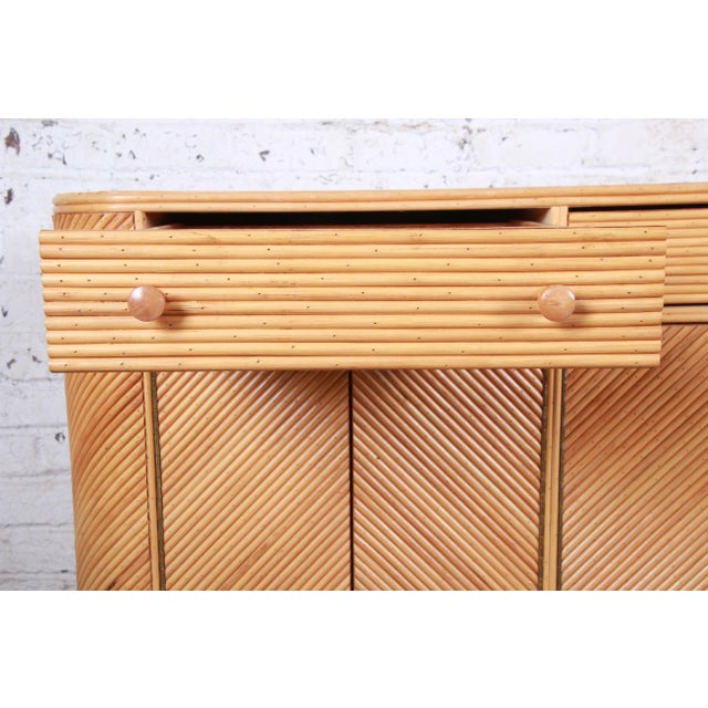 Brown Gabriella Crespi Style Split Reed Rattan Sideboard Cabinet For Sale - Image 8 of 13