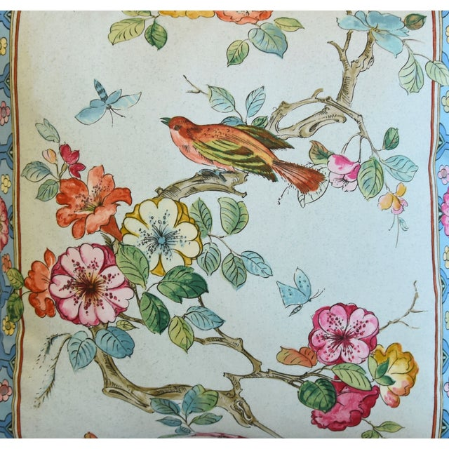 """English Chinoiserie Floral & Birds Feather/Down Pillows 24"""" Square - Pair For Sale - Image 4 of 13"""
