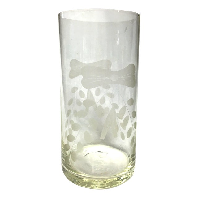 Mcm Etched Glass Cylinder Vase Frosted Design Chairish