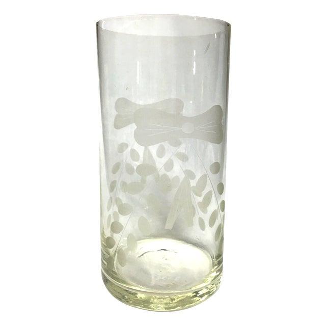 MCM Etched Glass Cylinder Vase, Frosted Design - Image 1 of 8