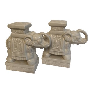 Asian Style Ceramic Elephant Figurines - a Pair For Sale