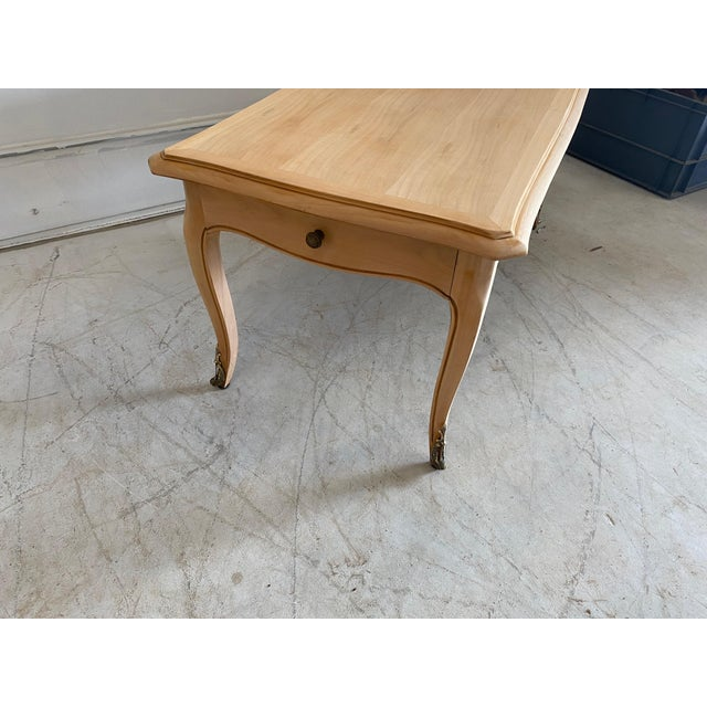 Wood French Antique Coffee Table Louis XV Style With 2 Drawers Bleached For Sale - Image 7 of 11