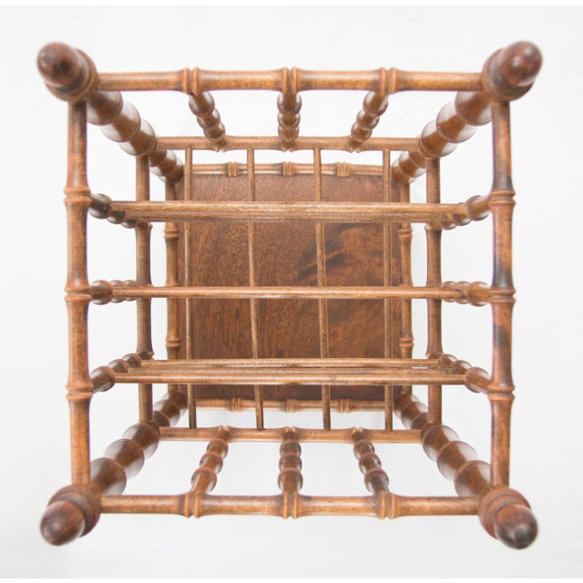 Asian Tall Vintage Mid-Century Faux Bamboo Tiered Magazine Rack For Sale - Image 3 of 8