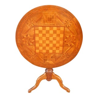 19th Century Italian Walnut Inlaid Chess Game Tilt Top Table
