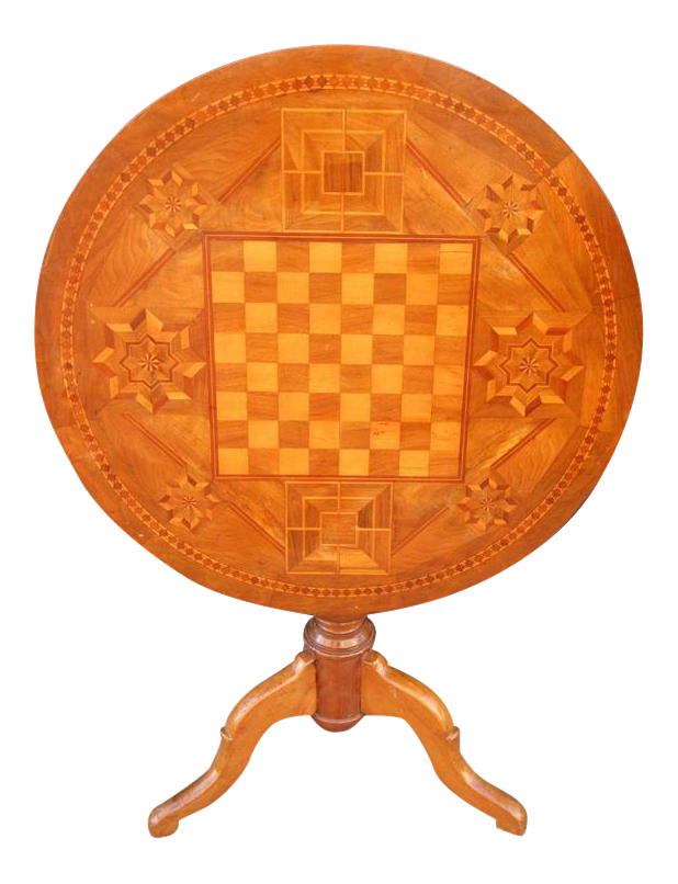 19th Century Italian Walnut Inlaid Chess Game Tilt Top Table   Image 1 Of 6