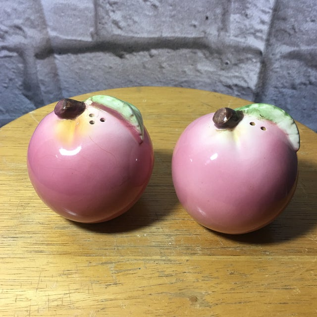 Farmhouse Vintage Peach Shaped Figural Salt & Pepper Shakers - a Pair For Sale - Image 3 of 10