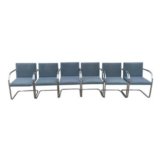 Mid Century Brno Chrome Cantilever Blue Chairs- Set of 6 For Sale
