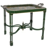Image of Victorian Papier Mâché and Silver Plate Tray Table For Sale