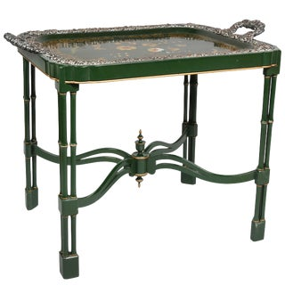 Victorian Papier Mâché and Silver Plate Tray Table For Sale