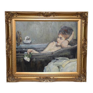 Contemporary Portrait of an Elegant Young Woman Reclining in Bath For Sale