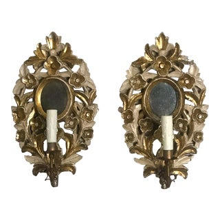 1910s Antique Italian Giltwood Mirrored Sconces - a Pair For Sale