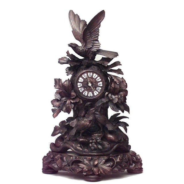 Walnut Rustic Black Forest 19th Century Carved Walnut Mantel Clock For Sale - Image 7 of 7