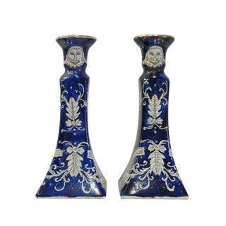 Chinese Porcelain Blue White Graphic Candle Holders