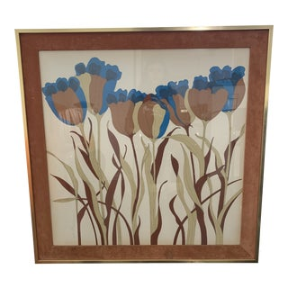 1970s Folk Art John Patricks Floral Art With Brass and Suede Frame For Sale