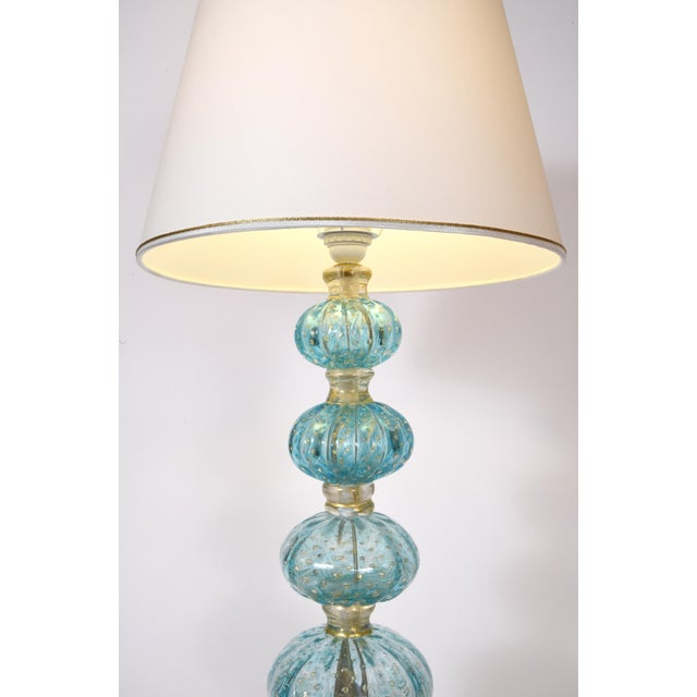 Late 20th Century Turquoise With Gold Flecks Table / Task Lamps - a Pair For Sale - Image 5 of 9