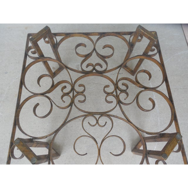 Vintage Hollywood Regency Wrought Iron Design Base Glass