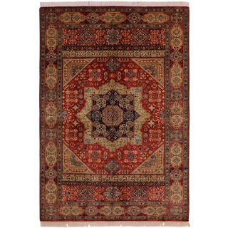1990s Southwestern Mamluk Julius Red/Blue Wool Rug - 5'7 X 7'9 For Sale