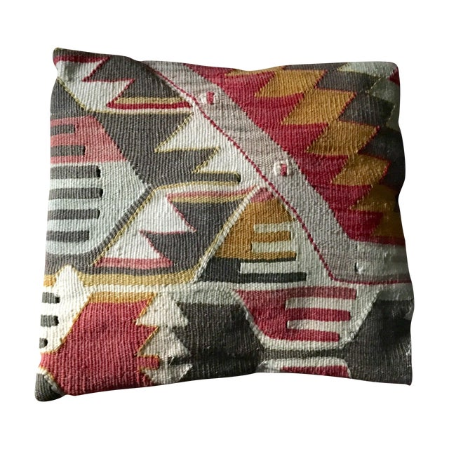 Exotic Antique Tribal Kilim Pillow - Image 1 of 3