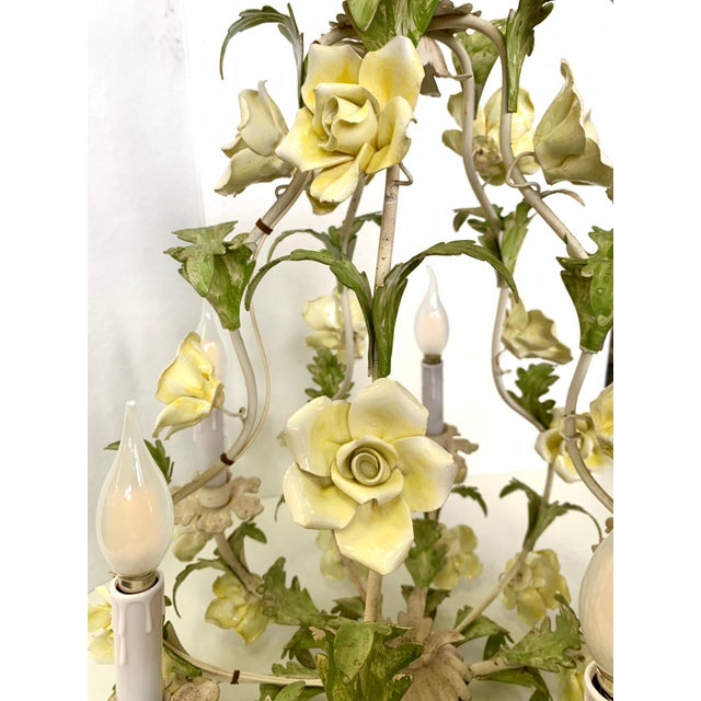 1940s Italian Porcelain Floral Vintage Toile Chandelier For Sale In West Palm - Image 6 of 12