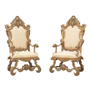 1930s Italian Renaissance-Style Throne Chairs- a Pair For Sale